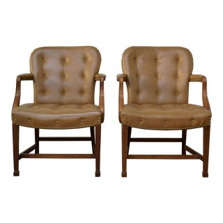 Tufted Walnut Hepplewhite Arm Chairs - a Pair For Sale