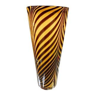 Italian 1950s Dino Martens Mid-Century Modern Zebra Art Glass Vase For Sale