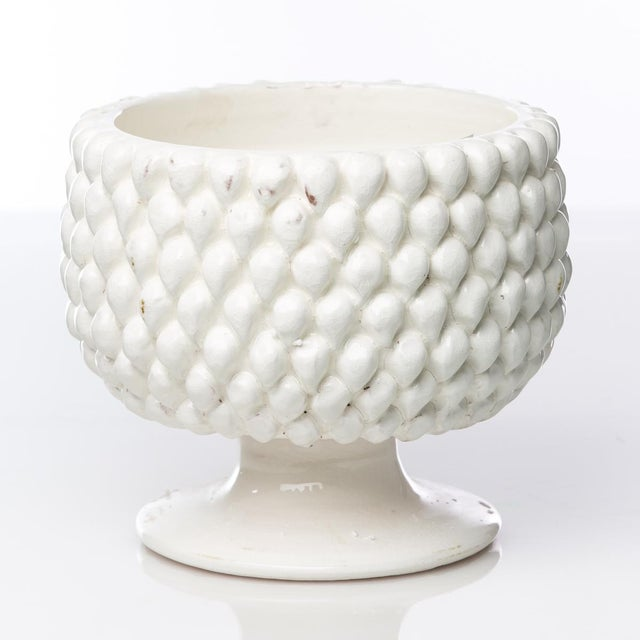 Contemporary Vinci Pine Cone White Ceramic Planter, Small For Sale - Image 3 of 3