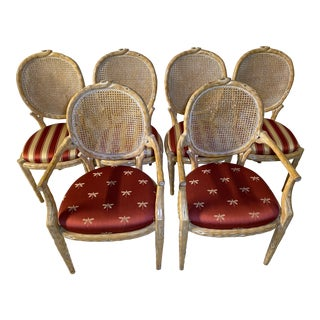 Vintage Faux Bois Caned Dining Chairs - Set of 6 For Sale