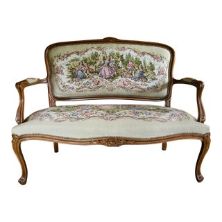 Vintage French Provincial Louis XV Style Tapestry Settee For Sale