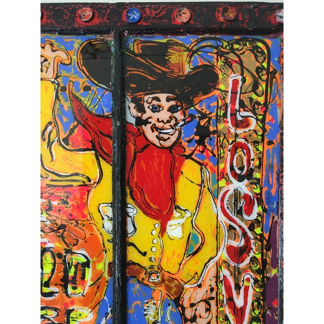 Vegas Vic Reverse Painting on Antique Window - Image 4 of 6