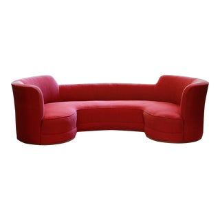 Mid-Century Curved Dunbar Oasis Sofa by Edward Wormley For Sale