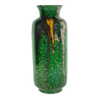 Alvino Bagni for Raymor Mid-Century Green Drip Glaze Vase For Sale