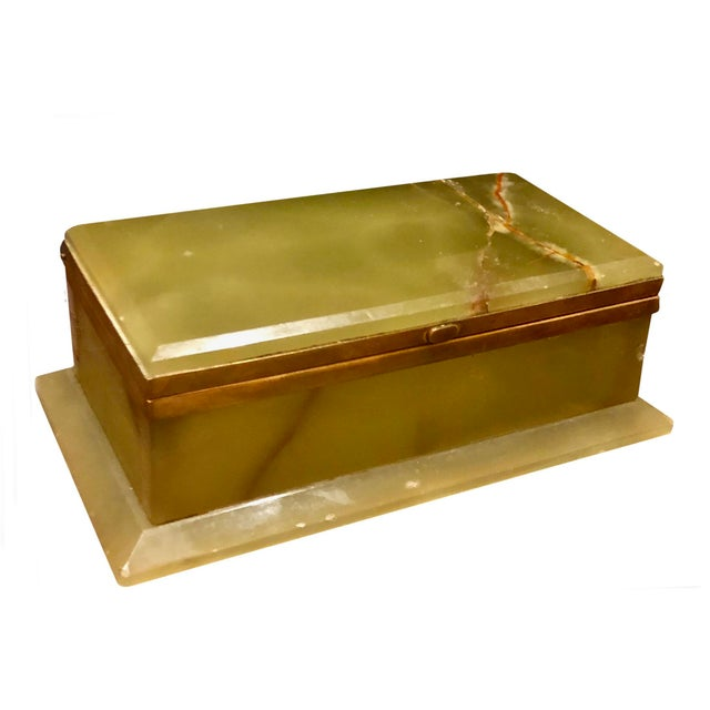 1940s Large Onyx and Bronze Table Box For Sale - Image 12 of 12