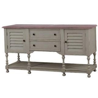 Shutter Door Sideboard Coastal Cottage Shabby French Country Style For Sale
