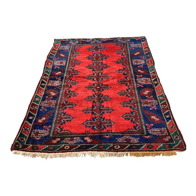 Red & Navy Vintage Hand Knotted Turkish Rug For Sale