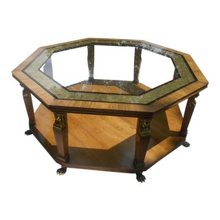 1960s Vintage Baker Furniture Egyptian Revival Octagon Coffee Table For Sale