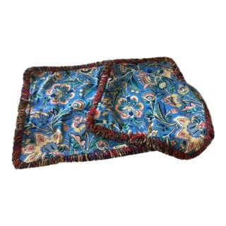 Custom Made Blue Floral King Bed Pillow Shams - a Pair For Sale
