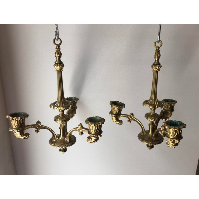 French Regency Gilt Bronze Hanging Candelabra Chandeliers - a Pair For Sale - Image 9 of 9