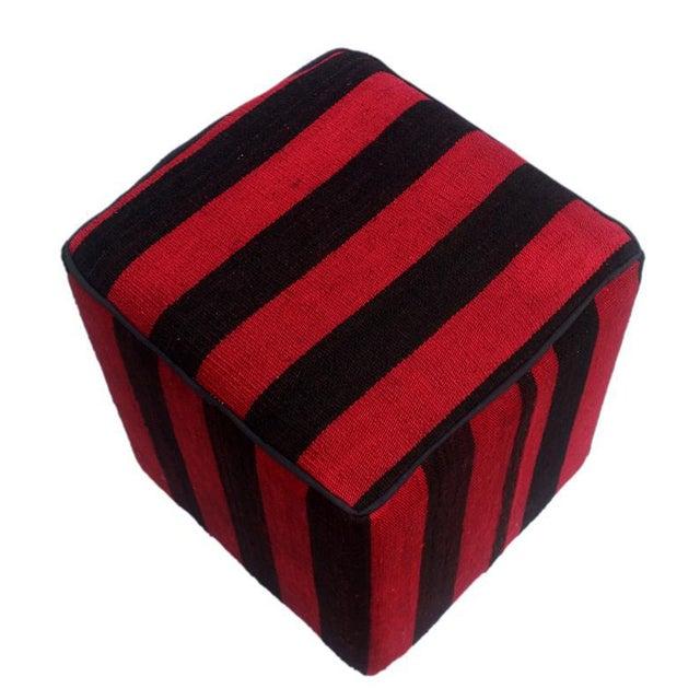 Asian Arshs Domitila Red/Black Kilim Upholstered Handmade Ottoman For Sale - Image 3 of 8