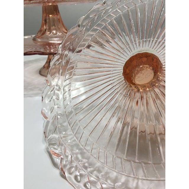 Pink Depression Glass Pedestal Cake Plates - Set of 3 - Image 7 of 8