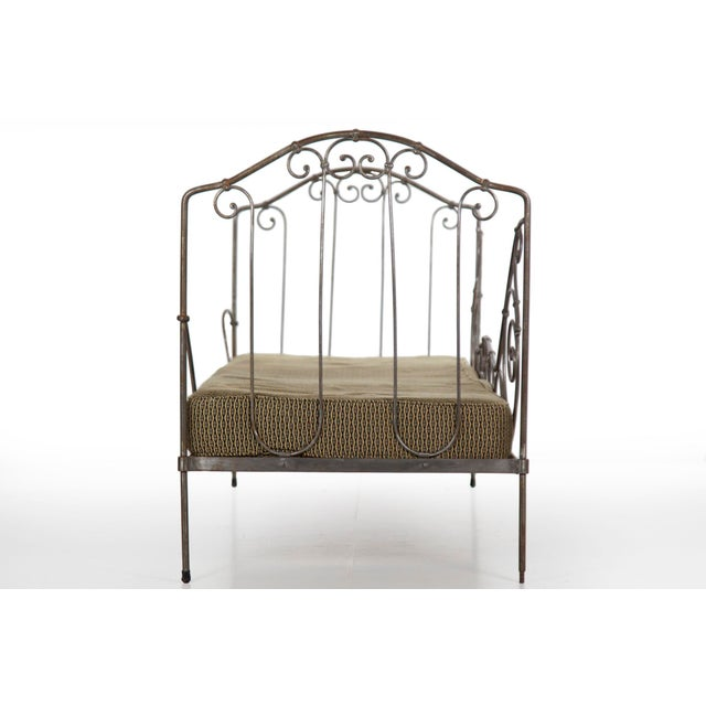 Antique French Wrought Iron Campaign Style Daybed Sofa For Sale - Image 6 of 13