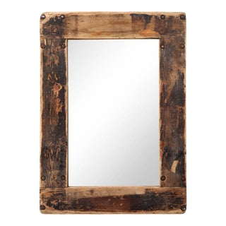 Reclaimed Industrial Dolly Wood Mirror For Sale