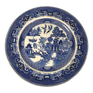 Antique Blue Willow Plate From Buffalo Pottery For Sale