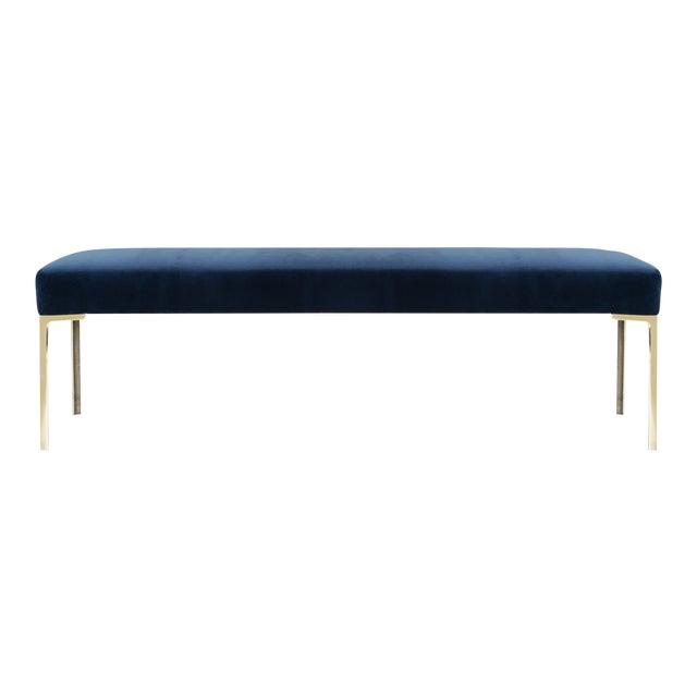 "Astor 60"" Brass Bench in Navy Velvet by Montage For Sale"