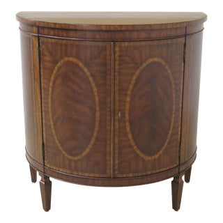 Federal Maitland Smith 1/2 Round Inlaid Mahogany Console Cabinet For Sale