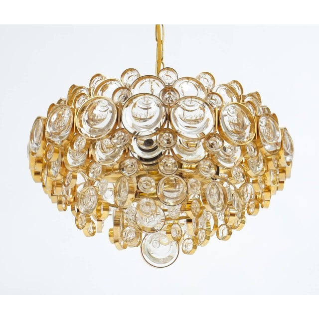 Brass Large Gold Palwa Brass and Glass Chandelier Lamp, Germany 1960 For Sale - Image 7 of 9