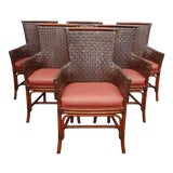 Image of 1990s Vintage Bamboo Orange Leather Palecek Accent Chairs- Set of 6 For Sale