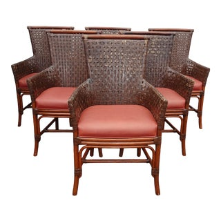 1990s Vintage Bamboo Orange Leather Palecek Accent Chairs- Set of 6 For Sale