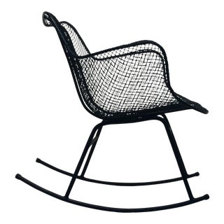 Mid-Century Modern Sculptura Wire Mesh Rocking Chair by Russell Woodard For Sale