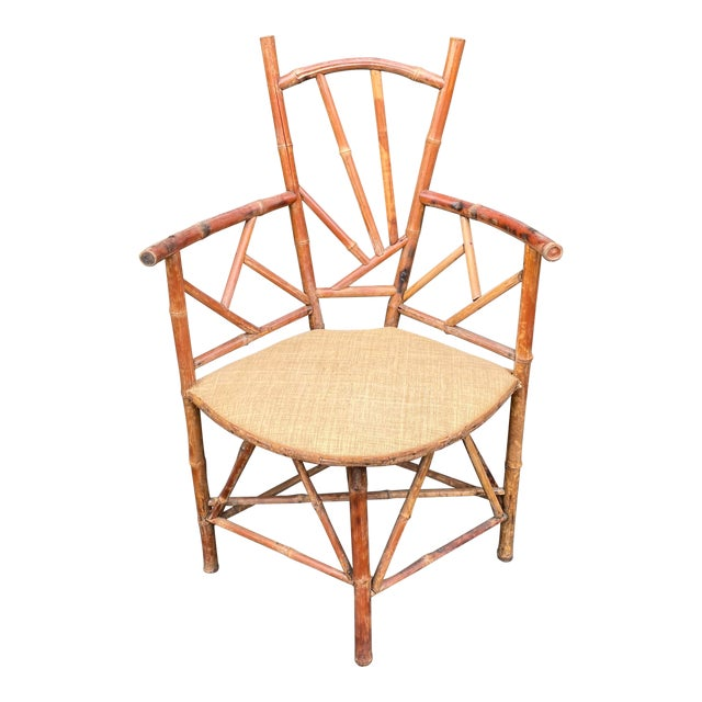 Rare Antique 19 C Bamboo Corner Chair For Sale