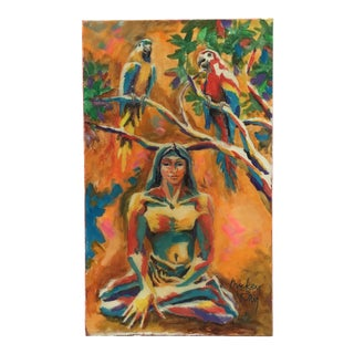 Bright Painting of Figure and Birds For Sale