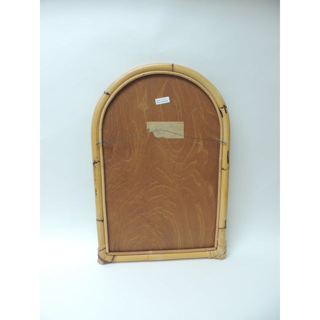 1980s Vintage Rectangular Bamboo Mirror For Sale - Image 5 of 6