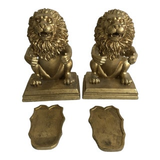 Vintage Gold of Lion Shield Bookends - a Pair For Sale