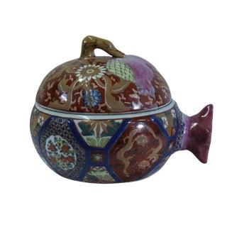 Vintage Oriental Imari Checker Blue Porcelain Box Container Figure For Sale