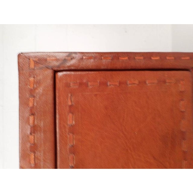 Animal Skin Mid-Century Modern Cordovan Leather Three-Drawer End Table For Sale - Image 7 of 9