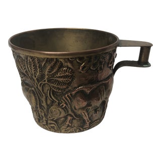 1940s Embossed Man and Cows Copper Cup For Sale