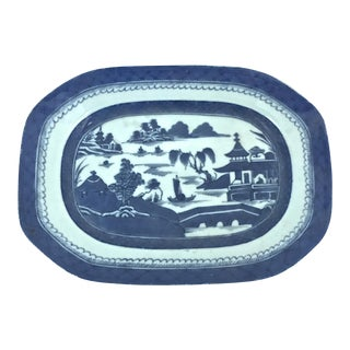 Chinese Blue Canton Hand-Painted Platter For Sale