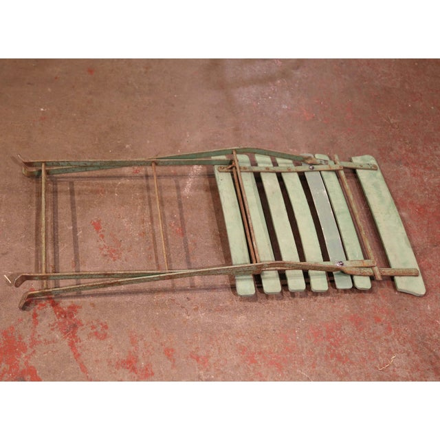 Set of Four 1920s French Iron and Wood Painted Folding Garden Chairs For Sale - Image 12 of 13