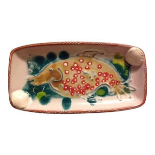 Handmade Ceramic Fish Bubbles and Shells Signed Plate For Sale