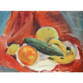 Eve Nethercott, Still Life With Fruit and Vegetables, Oil on Board For Sale