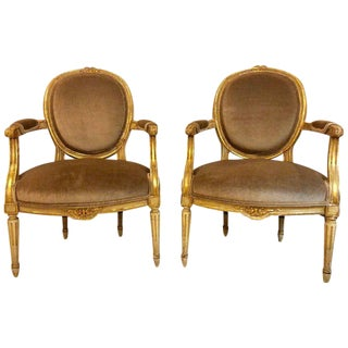 Gilt Gold Paint Decorated & Carved Louis XVI Style Armchairs or Fauteuil - a Pair