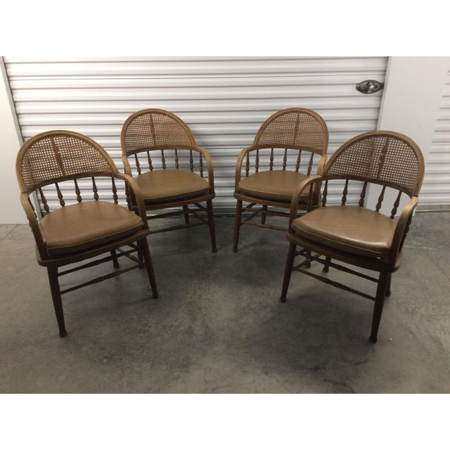 1960s Antique Captains Caning Back Chairs - Set of 4 For Sale - Image 5 of 5