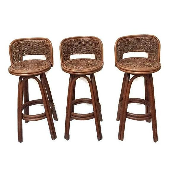 Brown Vintage Rattan & Bamboo Swivel Bar Stools - Set of 3 For Sale - Image 8 of 11
