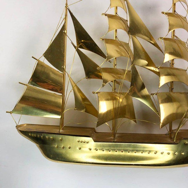 Nautical Vintage Mid-Century Brass Ship Figurine For Sale - Image 3 of 10