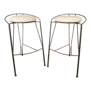 Pascal Mourgue Style Vecta Modernist Bar Stools - Set of 2 For Sale