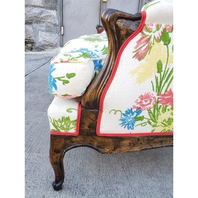 Vintage Louis XV Style Floral Upholstery Settee For Sale - Image 4 of 13