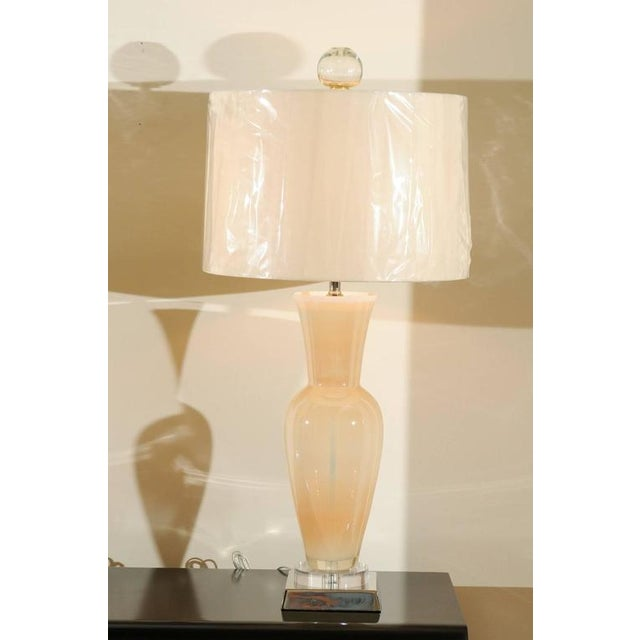 Hollywood Regency Elegant Restored Pair of Blown Murano Lamps with Custom Orb Finials For Sale - Image 3 of 11