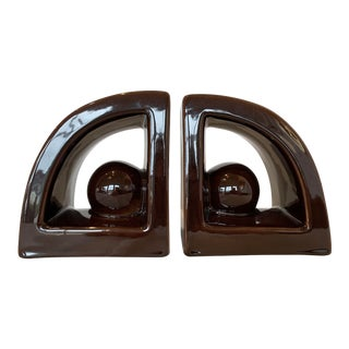 Modern Brown Ceramic Bookends - a Pair For Sale