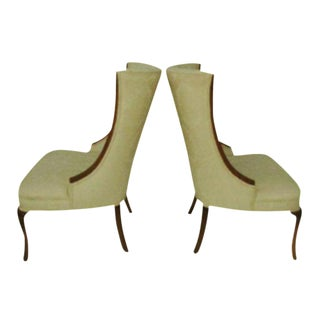 Hollywood Regency High Back Wing Chairs - A Pair For Sale