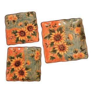Ceramic Sunflower Hand Painted Plates - Set of 3