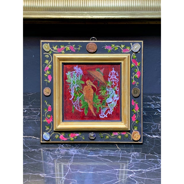 Wood Grand Tour Style Hand Painted Panel With Antique Glazed Italian Cameos by Vramyan For Sale - Image 7 of 7