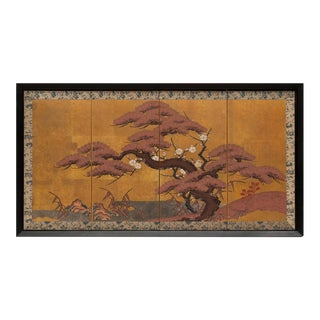 Late 19th Century Maiji Era Framed Japanese Gold Leaf Byobu Screen For Sale