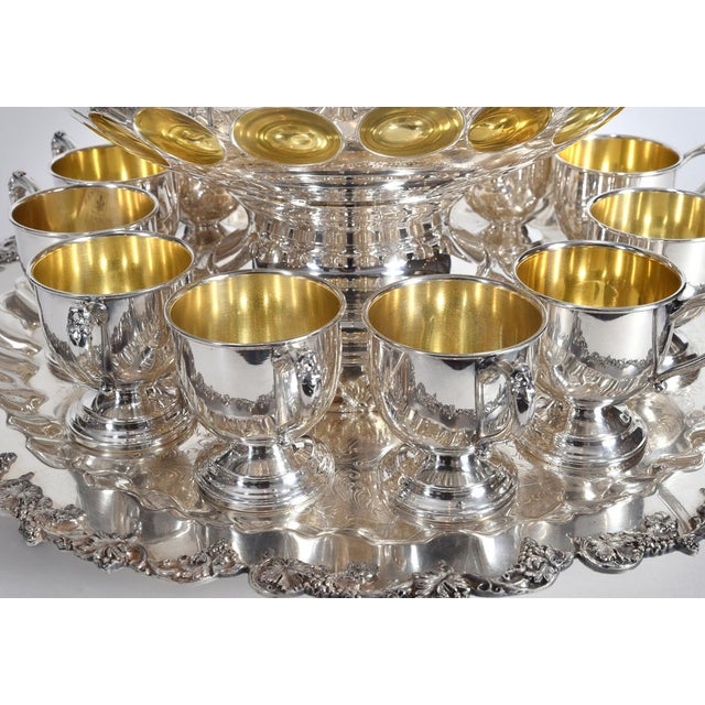 English Traditional Vintage English Georgian Style Silver Plated & Copper Punch Bowl Set of 15 For Sale - Image 3 of 12