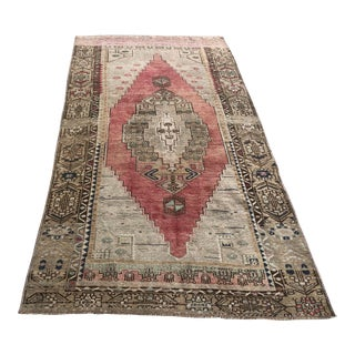 Turkish Faded Floor Vintage Carpet For Sale